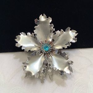 Vintage Large Silver Flower Brooch With Rhinestone